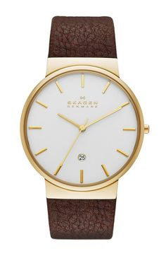 Skagen+'Ancher'+Leather+Strap+Watch,+40mm+available+at+#Nordstrom