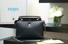 2016 Fall/Winter Fendi Small Dotcom Click Quilted Leather Tote in Black    $357.29