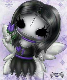 LOVE me some Frightlings. 💜💜 Voodoo Doll Tattoo, Voodoo Dolls, Emo Art, Goth Art, Creepy Art, Creepy Dolls, Dark Alice In Wonderland, Skull Girl Tattoo, Gothic Fantasy Art