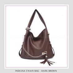 Tas Wanita Murah dan Bagus Indiana Chain Bag - Dark Brown