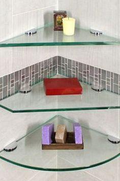 Glass Corner Shelves, Glass Shelf Brackets, Glass Shelves In Bathroom, Floating Glass Shelves, Shower Shelves, Mounting Brackets, Bathroom Wall, Bathroom Ideas, Washroom Design