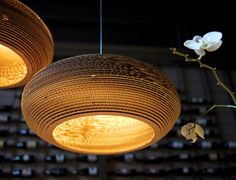 Instilling new spirit into salvaged pieces of corrugated cardboard, a scrap light's lively play on light and shadow invigorates once lifeless materials. Scrap lights collection is : Bell Disc Hive Bean Olive and the Twist. Graypants scrap lights: creating a brighter now.