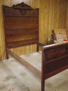 Antique Oak Full Double Bed Tall Headboard