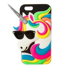 3D Silicone Unicorn with Sunglasses Cover for iPhone 6