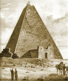 The Treasures of Nubian Queen Amanishakheto.  The pyramid of the queen at Wad Ban Naga.  It was leveled to the ground in 1832 by European treasure hunters.