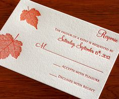 autumn letterpress wedding invitation by invitations by ajalon