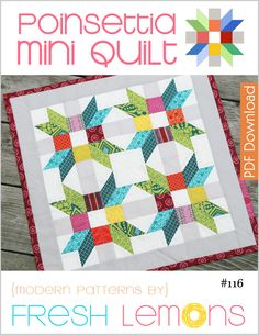 "The Poinsettia quilt pattern is an 18"" mini quilt pattern.  This size is ideal for home decor and can alternatively be used to make a pillow (pillow finishing details not included.) This quilt pattern assumes the quilter has knowledge of the paper piecing process.This listing is for a digital copy of the directions only (PDF).The following is included in this detailed 7 page pattern: ★ Fabric cutting tables ★ 8 professional block and quilt..."