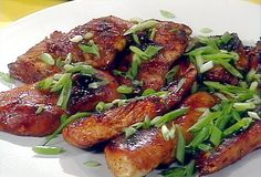 Honey Teriyaki Chicken with Ripe Pineapple Spears and Black and White Rice Balls from FoodNetwork.com