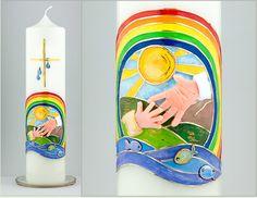 Taufkerze Baby religiöse Kerzen Taufe Kerze Hände von Kreatiwita #taufkerze, #etsyde, #etsy