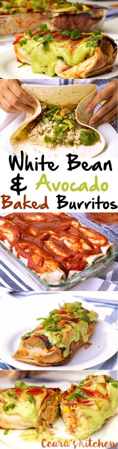 White Bean & Avocado Burritos- try these but without the corn and using my own enchilada sauce: