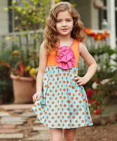 Look at this #zulilyfind! Freckles + Kitty Orange Polka Dot Peony Dress - Toddler & Girls by Freckles + Kitty #zulilyfinds