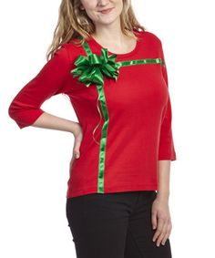 This Red Present Three-Quarter Sleeve Tee by Shane Lee is perfect! #zulilyfinds