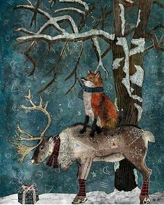 WINTER TALE, fine art print, fox and reindeer illustration Art And Illustration, Christmas Illustration, Illustrations, Christmas Scenes, Noel Christmas, Vintage Christmas, Fantasy Kunst, Fantasy Art, Yule