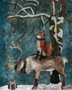 WINTER TALE, fine art print, fox and reindeer illustration Art And Illustration, Christmas Illustration, Illustrations, Christmas Scenes, Noel Christmas, Vintage Christmas, Fantasy Kunst, Fantasy Art, Yule