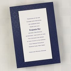 Bar and Bat Mitzvah Navy Patterned - Invitation     | 40% OFF |  http://mediaplus.carlsoncraft.com/Parties--Celebrations/Bar--Bat-Mitzvah-Invitations/3125-BAN8180-Bar-and-Bat-Mitzvah-Navy-Patterned--Invitation.pro