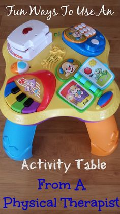 Great ways to utilize an activity table for baby starting while baby is a newborn from a physical therapist!