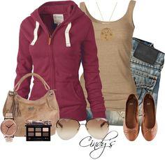 Khaki & Burgundy Fall Wear