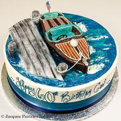 Boat docked on top of cake. Cupcakes, Cupcake Cakes, Beautiful Cakes, Amazing Cakes, Nautical Cake, Nautical Food, Boat Cake, Sea Cakes, Birthday Cakes For Men