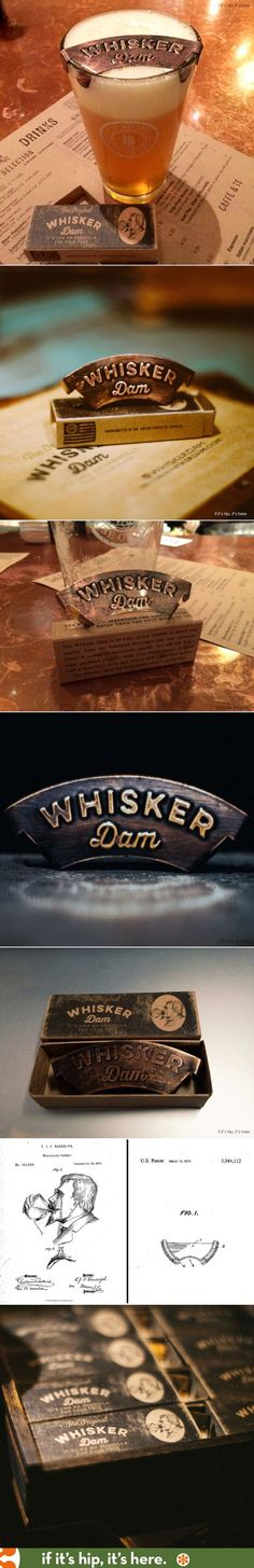 The Whisker Dam is a new product to protect a moustache from getting wet while drinking. The packaging design has a purposely distressed look and a vintage logo that was inspired by an original patent from 1872.: