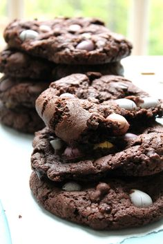 Dark Chocolate & Mini Egg Cookies -because it's almost springtime!