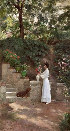 Rixens, Jean André (b,1846)- Woman Arranging Flowers on  Walkway, w Dog -2a