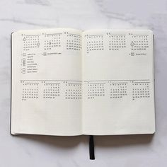 Bullet Journal Future Log by @wineorbread  All Mini Months  If you can't get enough of the mini months and love the idea of writing down events underneath them and want to see the whole year at a glance, this spread is for you.