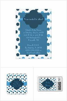 Adorable Blue Polka Dots Baby Shower Set would be cute for boy's baby shower event. Shower Set, Baby Shower Invitations For Boys, Blue Polka Dots, Baby Boy Shower, Thank You Cards, Party, Fun, Collections, Simple