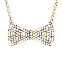 Pearl Studded Bow Pendant Necklace $12.50 [clairs store]