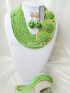 New Arrived Green Turquoise Necklace Nigerian Wedding African Beads Costume Jewelry Set 2014 New Free Shipping TC016 $68.78