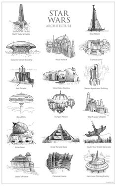 What the Architecture of Game of Thrones, Harry Potter, and Star Wars Looks Like as Pen-and-Paper Drawings Star Wars Zeichnungen, Maquette Star Wars, Nave Star Wars, Star Trek, Images Star Wars, Star Wars Drawings, Art Drawings, Star Wars Facts, Star Wars Tattoo