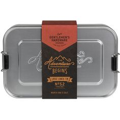Gentlemen's Hardware Large Metal Lunch Box design by Wild & Wolf ($26) ❤ liked on Polyvore featuring home, kitchen & dining, food storage containers, food storage, metal lunchbox, lunch box, metal food storage containers and metal lunch box