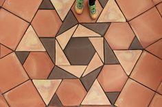 Marsala, Brick Material, Quarry Tiles, Floor Patterns, Graphic Patterns, Floor Design, Geometry, Flooring, Bathroom Designs