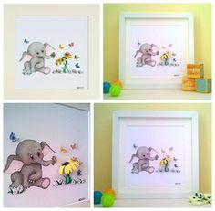 Nursery Artwork - Baby Nell with Flower and Butterflies. #babyshower #nurserywallart #etsyshopuk #uniquenurseryideas #babyanimals #childsplayroom #babythemes #babyroomideas #newbabygift #christeninggift #newbabygift