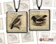 VINTAGE BIRDS 1x1 inch Digital Collage Sheet by KARTINKAshop, $3.50