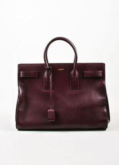 "Saint Laurent Oxblood Red Leather ""Large Sac De Jour"" Tote Bag"