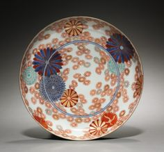 Dish with Chrysanthemums and Marigolds, 1700s -   Japan, Edo Period (1615-1868)  Imari ware porcelain
