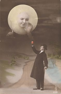 Man Drinking with the Moon - Gelatin silver print with applied color. 1910s