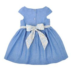Lovely blue little dress with a bug bow in the back.