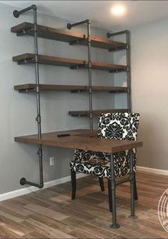 5 Tiers L-Shape Desk and Shelve Laptop DeskSolid W. 5 Tiers L-Shape Desk and Shelve Laptop DeskSolid Wood & Iron Desk Shelves, Diy Pipe Shelves, Pipe Shelving, Storage Shelves, Craft Storage, Galvanized Pipe Shelves, Storage Ideas, Craft Room Shelves, Pipe Bookshelf
