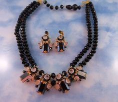 Stanley Hagler Onyx & Frosted Crystal Demi Parure