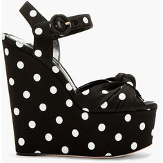 Dolce & Gabbana Black & White Silk Polka Dot Bianca Wedges ($284) ❤ liked on Polyvore featuring shoes, sandals, heels, wedges, ankle strap high heel sandals, wedge heel sandals, black and white wedge sandals, high heel shoes and ankle wrap wedge sandals