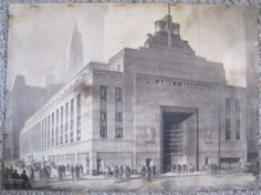 Important Hugh Ferriss Airlines Terminal Building NYC Architectural Rendering | eBay