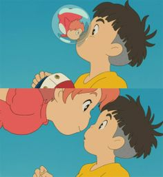 Ponyo kisses Sosuke to become human forever Hayao Miyazaki, Film Animation Japonais, Animation Film, Manga Anime, Anime Art, Ponyo Anime, Studio Ghibli Movies, Film D'animation, Howls Moving Castle