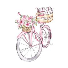 Find images and videos about fashion, vintage and grunge on We Heart It - the app to get lost in what you love. Watercolor Fashion, Watercolor Paintings, Bike Drawing, Chanel Art, Fancy Fonts, Illustration Mode, Creation Deco, Bicycle Art, Fashion Wall Art