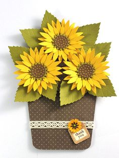 Flower Pot Card Any Occasion card Sunflower by CardamomsArt Send warm loving wishes through this beautiful handmade Pink aster - Flower-pot card. This card can be given on any occasion. The card measures 5 Sunflower Cards, Sunflower Flower, Handmade Greetings, Greeting Cards Handmade, Handmade Envelopes, Envelope Art, Shaped Cards, Mothers Day Cards, Fall Cards
