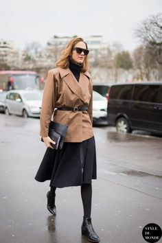 Work Outfit Ideas to Try This Winter - camel coat + black midi skirt