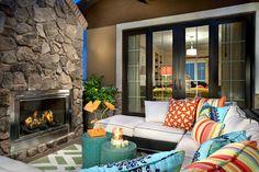 French Doors Outdoor Design Ideas, Pictures, Remodel and Decor Outdoor Rooms, Outdoor Living, Outdoor Furniture Sets, Residential Interior Design, Sliding Glass Door, Glass Doors, Decks And Porches, Cozy Room, Wooden Doors