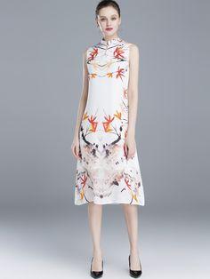 Vintage Stand Collar Sleeveless Silk Ink Pattern Print Shift Dress - DressSure.com