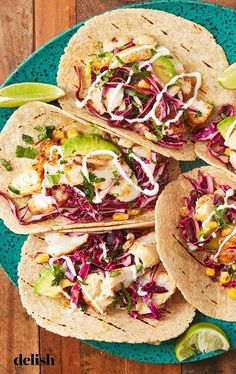 When summer hits, we stuff our tacos with fish. Get our 15 best fish taco recipes now! Grilling Recipes, Fish Recipes, Seafood Recipes, Mexican Food Recipes, Dinner Recipes, Cooking Recipes, Healthy Recipes, Ethnic Recipes, Mexican Dishes