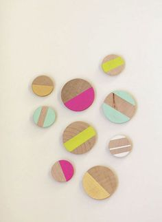 Wooden Magnets-- Make Over Your Kitchen With 49 Budget-Friendly DIYs via Brit + Co.